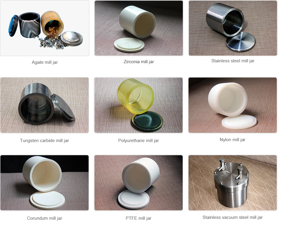 Available categoriess of mill jars in different materials